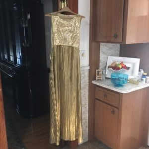 🆕 NWOT Gold Sequins Evening Costume Dress, Sz Med